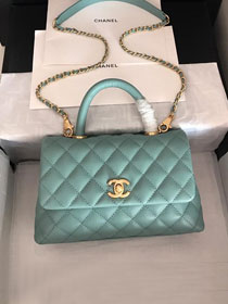 2019 CC original grained calfskin small coco handle bag A92990 mint green