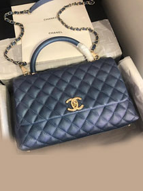 2019 CC original iridescent grained calfskin large coco handle bag A92991 navy blue