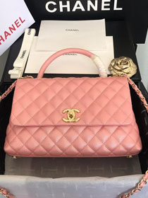 2019 CC original iridescent grained calfskin large coco handle bag A92991 pink