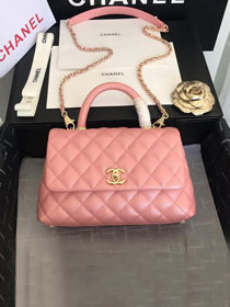 2019 CC original iridescent grained calfskin small coco handle bag A92990 pink