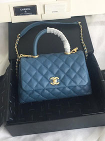 2019 CC original iridescent grained calfskin small coco handle bag A92990 royal blue