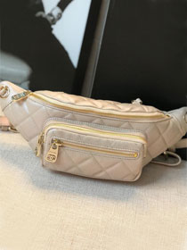 2019 CC original Iridescent grained calfskin waist bag AS0556 apricot