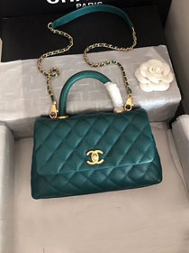 2019 CC original iridescent grained calfskin small coco handle bag A92990 emerald green