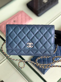 CC original iridescent grained calfskin wallet on chain AP0315 navy blue