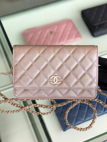 CC original iridescent grained calfskin wallet on chain AP0315 nude