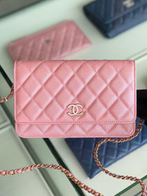 CC original iridescent grained calfskin wallet on chain AP0315 pink