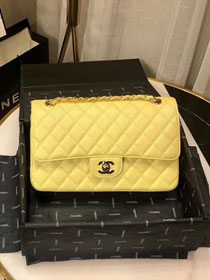 2019 CC original iridescent grained calfskin medium flap bag A01112 yellow