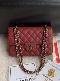 2019 CC original iridescent grained calfskin small flap bag A01113 bordeaux