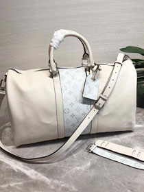 Louis vuitton original taiga leather keepall bandouliere 45 M94416 white