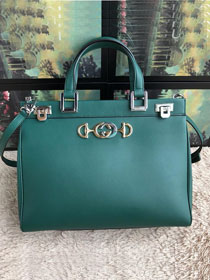 2019 GG original smooth calfskin zumi medium top handle bag 564714 green