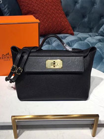 2019 Hermes original togo leather small kelly 2424 bag H03698 black