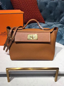 2019 Hermes original togo leather small kelly 2424 bag H03698 caramel