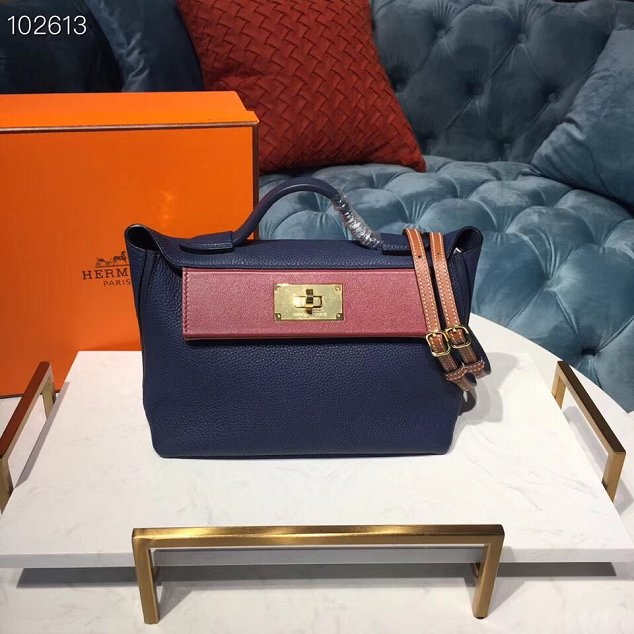 2019 Hermes original togo leather small kelly 2424 bag H03698 royal blue