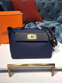 2019 Hermes original togo leather small kelly 2424 bag H03698 royal blue&black