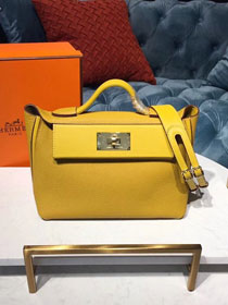 2019 Hermes original togo leather small kelly 2424 bag H03698 yellow
