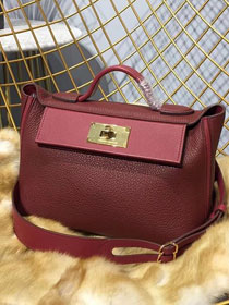 2019 Hermes original togo leather kelly 2424 bag H03699 bordeaux