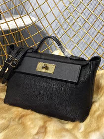 2019 Hermes original togo leather kelly 2424 bag H03699 black