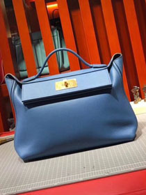 2019 Hermes original togo leather kelly 2424 bag H03699 blue