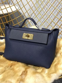2019 Hermes original togo leather kelly 2424 bag H03699 royal blue