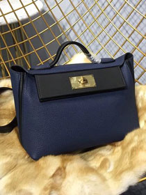 2019 Hermes original togo leather kelly 2424 bag H03699 royal blue&black