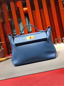 2019 Hermes original togo leather small kelly 2424 bag H03698 blue