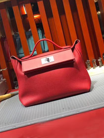 2019 Hermes original togo leather small kelly 2424 bag H03698 red