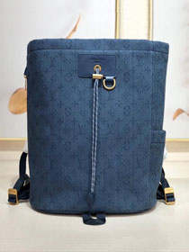 2019 louis vuitton original monogram denim chalk backpack M44617 navy blue