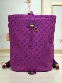 2019 louis vuitton original monogram denim chalk backpack M44617 purple