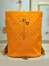 2019 louis vuitton original monogram denim chalk backpack M44617 yellow