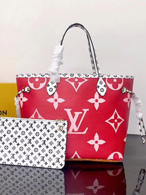 2019 louis vuitton original monogram neverfull mm M44567 red