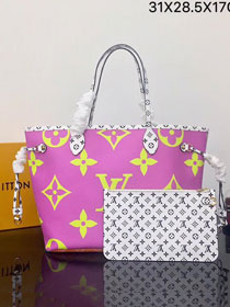 2019 louis vuitton original monogram neverfull mm M44588 pink