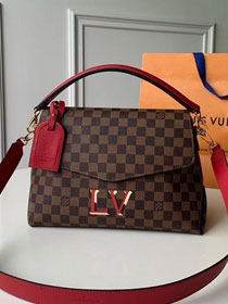 2019 louis vuitton original damier ebene beaubourg mm bag N40176 red