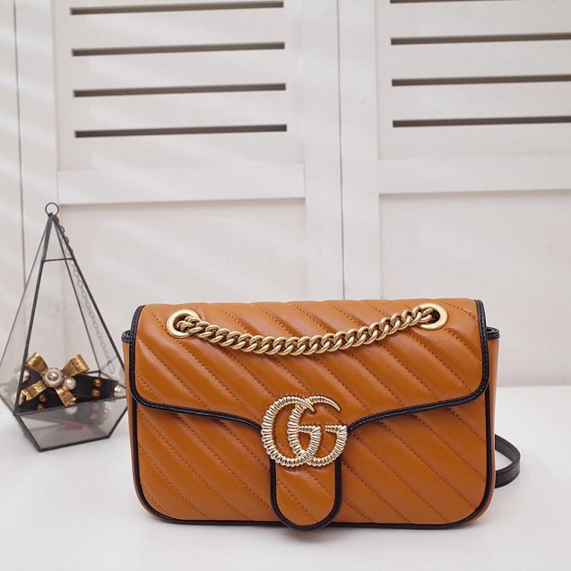 GG original calfskin marmont small shoulder bag 443497 caramel