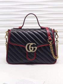 2019 GG original calfskin marmont small top handle bag 498110 black