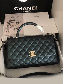 2019 CC original iridescent grained calfskin large coco handle bag A92991 dark green