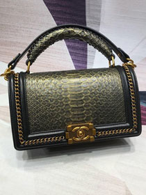 CC original python leather medium boy handbag A94804 black&gold