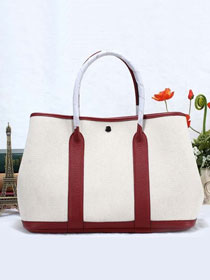 Hermes original canvas large garden party 36 bag G36 white&bordeaux