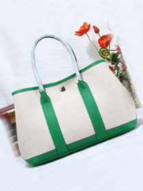 Hermes original canvas large garden party 36 bag G36 white&bright green