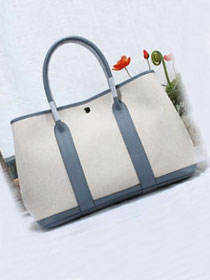 Hermes original canvas large garden party 36 bag G36 white&light blue