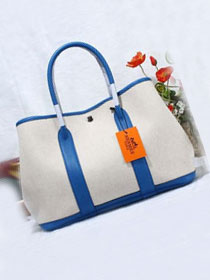 Hermes original canvas large garden party 36 bag G36 white&royal blue
