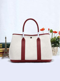 Hermes original canvas small garden party 30 bag G30 white&bordeaux