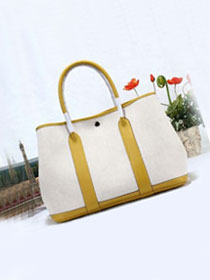 Hermes original canvas small garden party 30 bag G30 white&lemon yellow