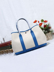 Hermes original canvas small garden party 30 bag G30 white&royal blue