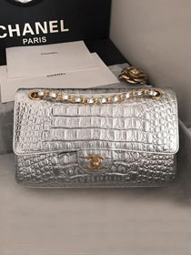 2019 CC original crocodile calfskin flap bag A01112 silver