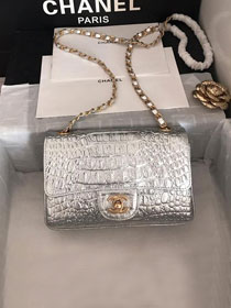2019 CC original crocodile calfskin mini flap bag A69900 silver
