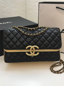 2019 CC original lambskin medium flap bag A57276 black&gold