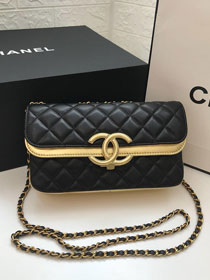 2019 CC original lambskin small flap bag A57275 black&gold