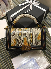 CC original python leather medium boy handbag A94804 beige&yellow