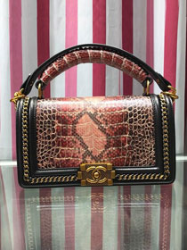 CC original python leather medium boy handbag A94804 black&bordeaux