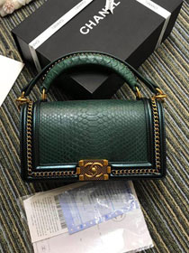 CC original python leather medium boy handbag A94804 blackish green